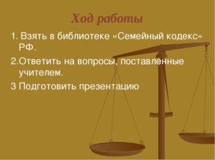 Ход работы 1. Взять в библиотеке «Семейный кодекс» РФ. 2.Ответить на вопросы,
