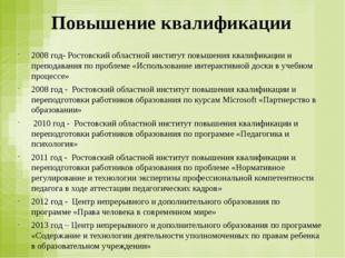 Повышение квалификации 2008 год- Ростовский областной институт повышения квал