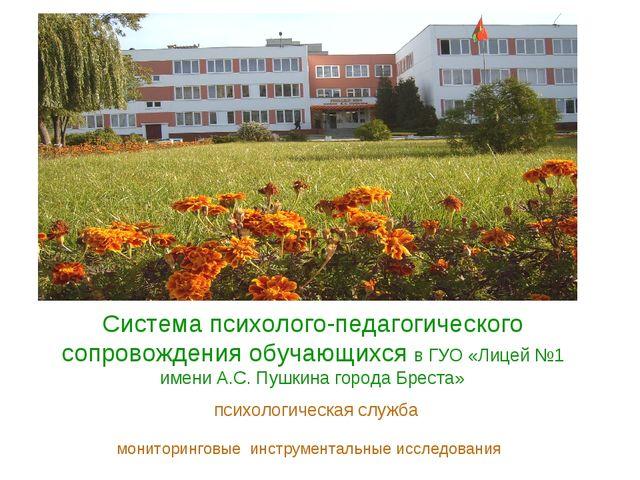 Система психолого-педагогического сопровождения обучающихся в ГУО «Лицей №1 и...