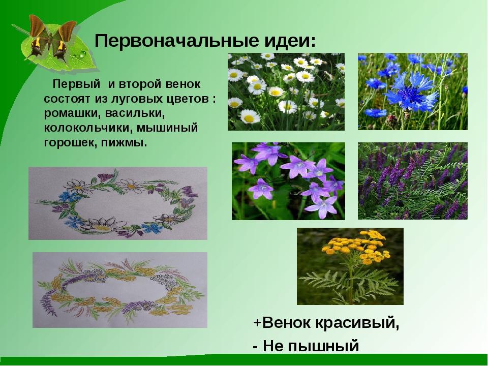 Первоначальные идеи: Первый и второй венок состоят из луговых цветов : ромаш...