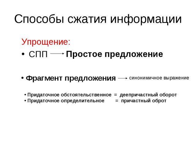 Способы сжатия информации Упрощение: СПП Простое предложение Фрагмент предлож...