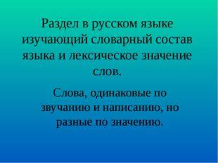 Раздел в русском языке изучающий словарный состав языка и лексическое значени
