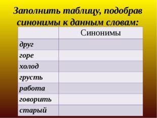Заполнить таблицу, подобрав синонимы к данным словам: Синонимы друг горе холо