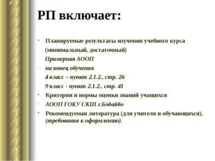 РП включает: Планируемые результаты изучения учебного курса (минимальный, дос