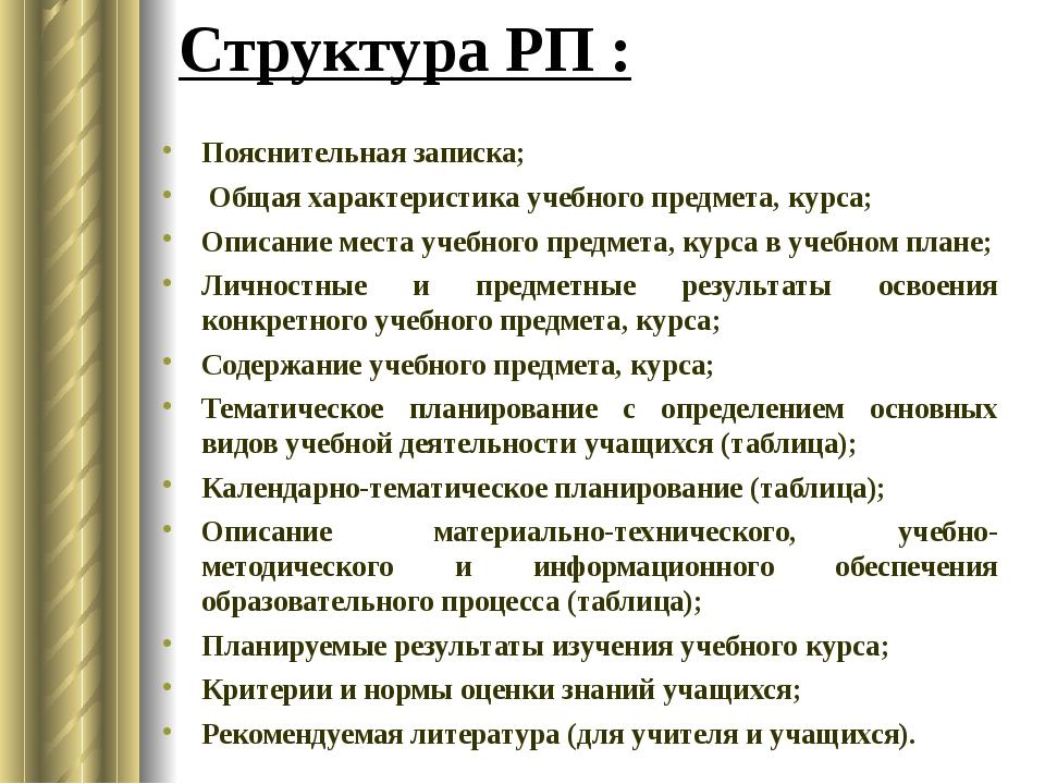 Пояснительная записка; Общая характеристика учебного предмета, курса; Описани...