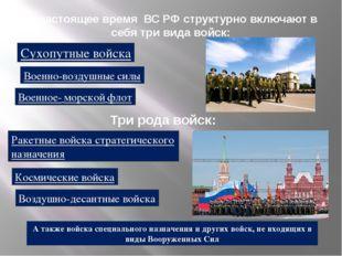 В настоящее время ВС РФ структурно включают в себя три вида войск: Сухопутны