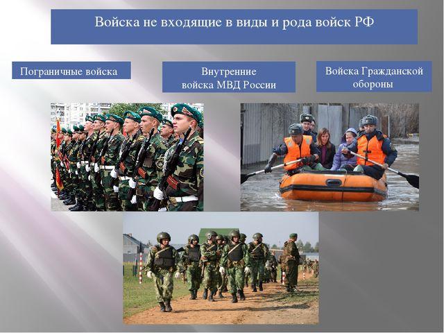 Войска не входящие в виды и рода войск РФ Пограничные войска Войска Граждан...