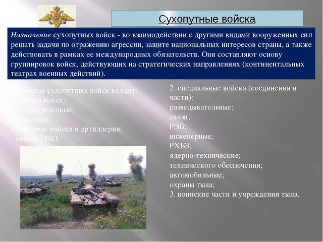 Сухопутные войска Назначение сухопутных войск - во взаимодействии с другими в...