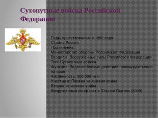 Сухопутные войска Российской Федерации Годы существования: с1992 года Страна