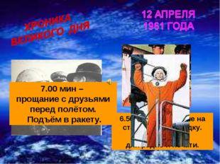 6.50 мин – прибытие на стартовую площадку. Заявление для радио и печати. 7.00