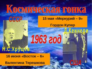 15 мая «Меркурий – 9» Гордон Купер 14 июня «Восток – 5» Валерий Быковский 16