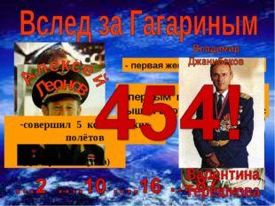- космонавт №2 (дублёр Ю.Гагарина) - первая женщина - космонавт первым в МИРЕ