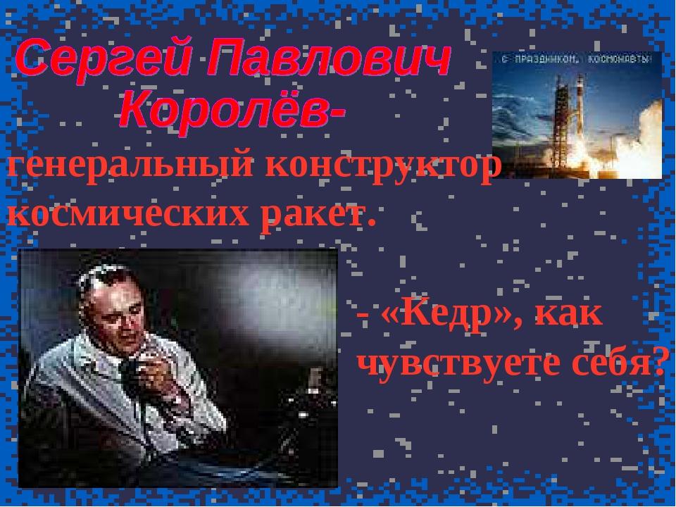 генеральный конструктор космических ракет. - «Кедр», как чувствуете себя?