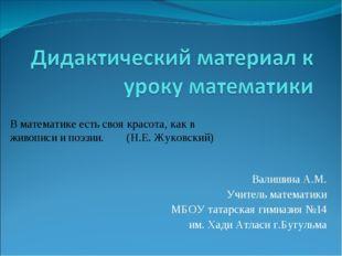 Валишина А.М. Учитель математики МБОУ татарская гимназия №14 им. Хади Атласи