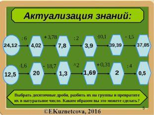 Актуализация знаний: Выбрать десятичные дроби, разбить их на группы и преврат