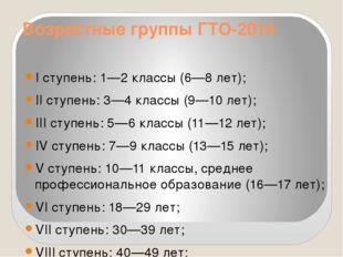 Возрастные группы ГТО-2014 I ступень: 1—2 классы (6—8 лет); II ступень: 3—4 к