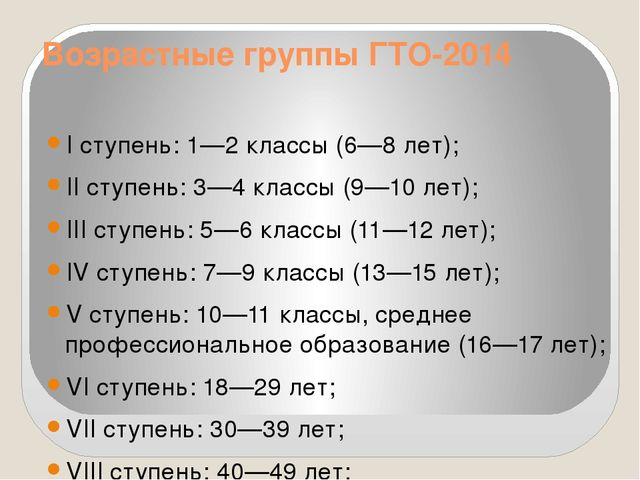 Возрастные группы ГТО-2014 I ступень: 1—2 классы (6—8 лет); II ступень: 3—4 к...