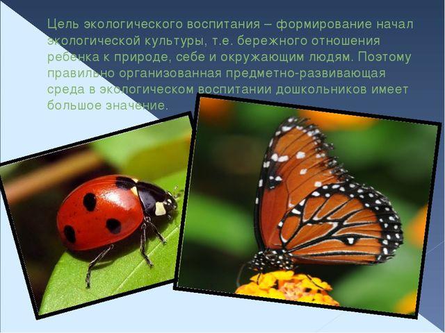 Цель экологического воспитания – формирование начал экологической культуры, т...