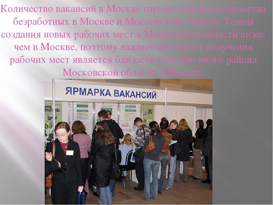 Количество вакансий в Москве гораздо меньше количества безработных в Москве и...