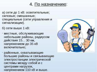4. По назначению: а) сети до 1 кВ: осветительные; силовые; смешанные; специал