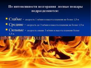 По интенсивности возгорания лесные пожары подразделяются: Слабые - скорость