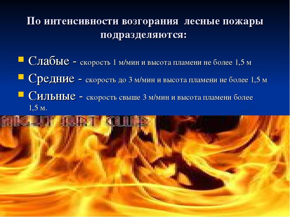 По интенсивности возгорания лесные пожары подразделяются: Слабые - скорость...