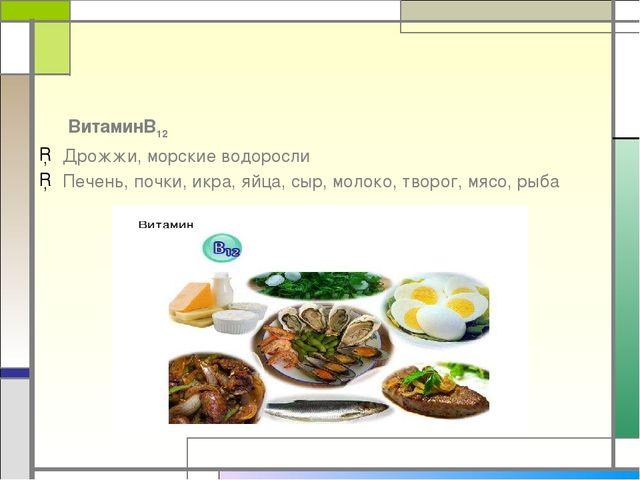 ВитаминВ12 Дрожжи, морские водоросли Печень, почки, икра, яйца, сыр, молоко,...