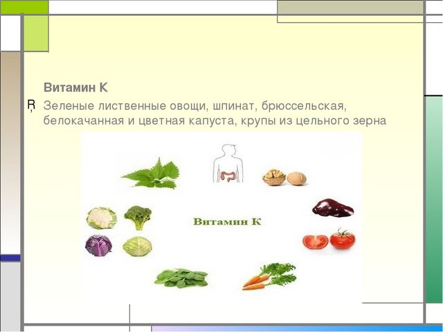 Витамин К Зеленые лиственные овощи, шпинат, брюссельская, белокачанная и цве...