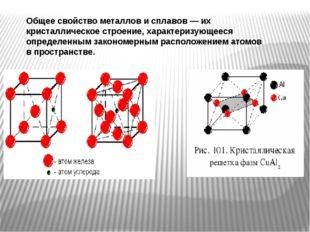 Общее свойство металлов и сплавов — их кристаллическое строение, характеризую