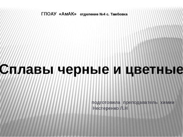 подготовила преподаватель химии Нестеренко Л.Н Сплавы черные и цветные ГПОАУ...