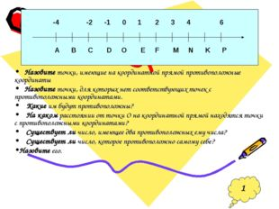 Назовите точки, имеющие на координатной прямой противоположные координаты На