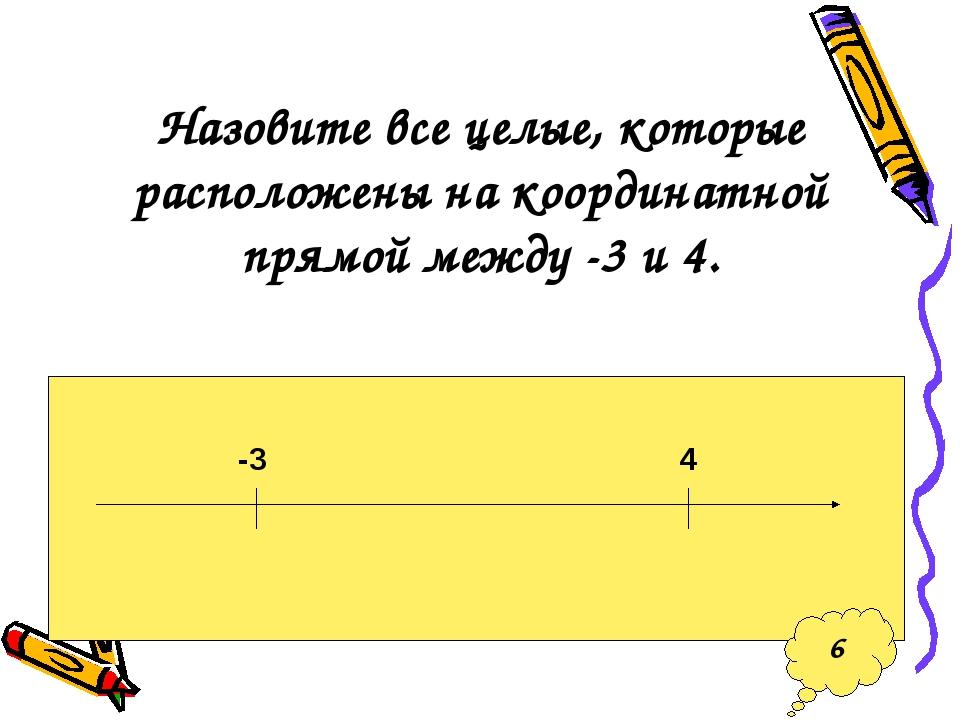 Назовите все целые, которые расположены на координатной прямой между -3 и 4....