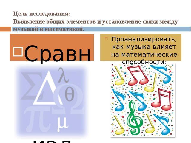 Цель исследования: Выявление общих элементов и установление связи между музык...