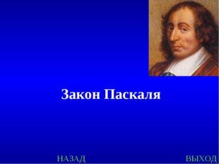 НАЗАД ВЫХОД Закон Паскаля