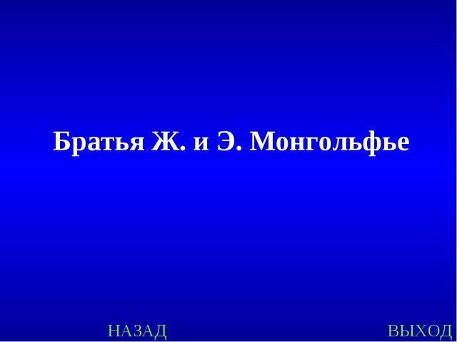 НАЗАД ВЫХОД Братья Ж. и Э. Монгольфье