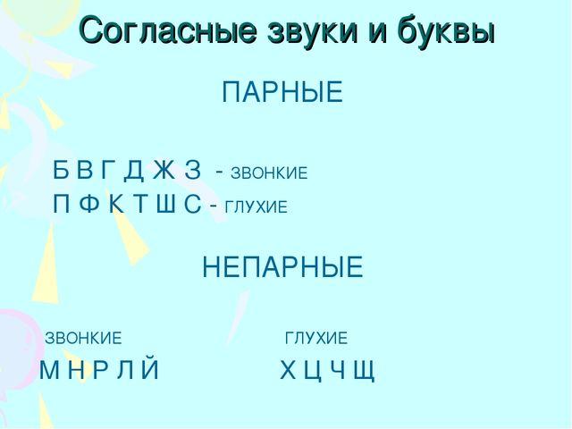 Согласные звуки и буквы ПАРНЫЕ Б В Г Д Ж З - ЗВОНКИЕ П Ф К Т Ш С - ГЛУХИЕ НЕП...