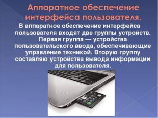 В аппаратное обеспечение интерфейса пользователя входят две группы устройств.