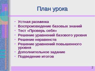 План урока Устная разминка Воспроизведение базовых знаний Тест «Проверь себя»