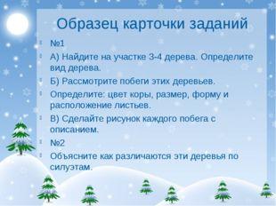 Образец карточки заданий №1 А) Найдите на участке 3-4 дерева. Определите вид