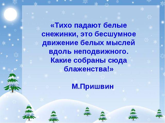 «Тихо падают белые снежинки, это бесшумное движение белых мыслей вдоль неподв...