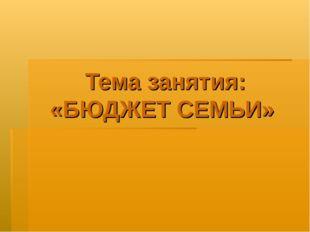 Тема занятия: «БЮДЖЕТ СЕМЬИ»