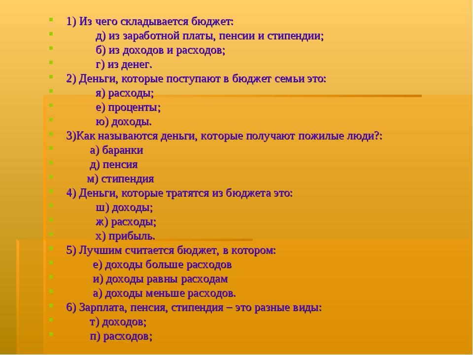 1) Из чего складывается бюджет: д) из заработной платы, пенсии и стипендии; б...