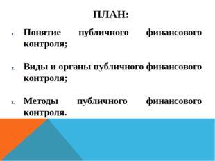 ПЛАН: Понятие публичного финансового контроля; Виды и органы публичного финан
