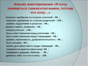 Анализ анкетирования «Я хочу заниматься самовоспитанием, потому что хочу…» по