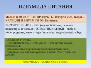 ПИРАМИДА ПИТАНИЯ ФИЗИЧЕСКАЯ АКТИВНОСТЬ и ВОДА. - ОВОЩИ И ФРУКТЫ; - ЦЕЛЬНОЗЕРН