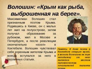 Волошин: «Крым как рыба, выброшенная на берег». Максимилиан Волошин стал приз