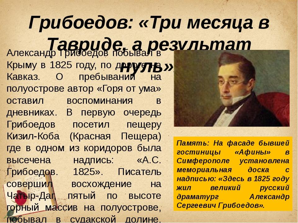 Грибоедов: «Три месяца в Тавриде, а результат нуль». Александр Грибоедов побы...
