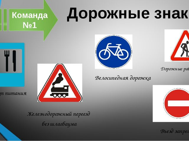 Дорожные знаки Команда №1 Пункт питания Въезд запрещён Велосипедная дорожка Ж...
