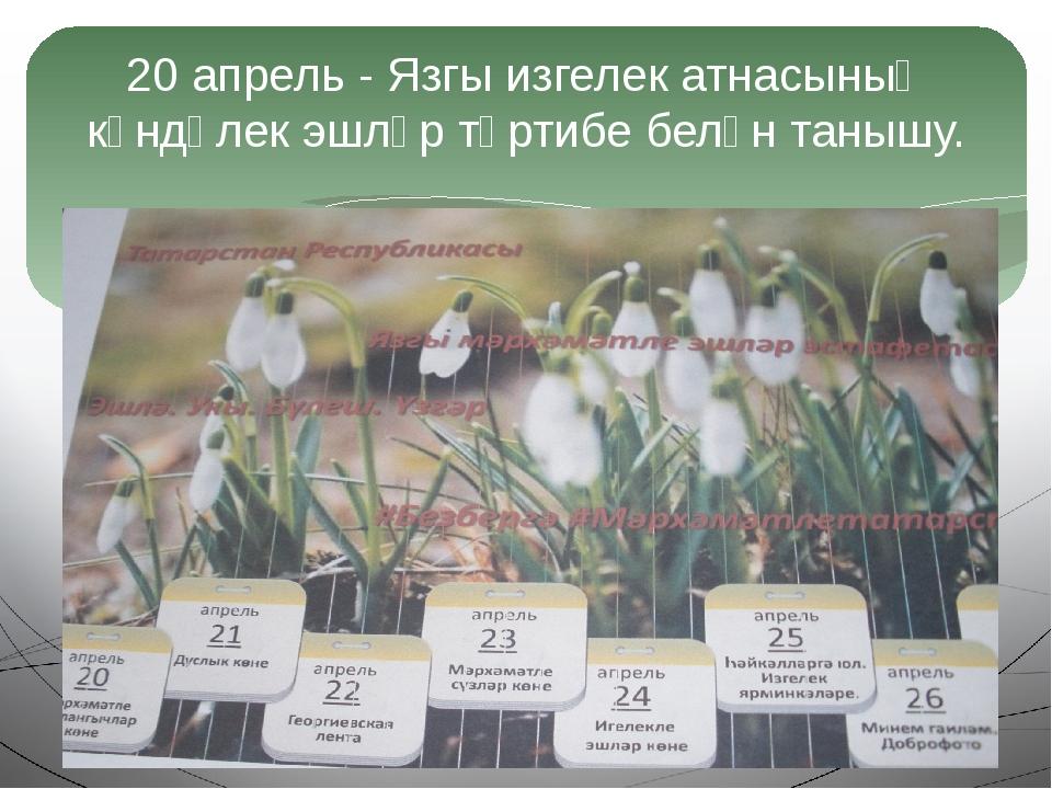 20 апрель - Язгы изгелек атнасының көндәлек эшләр тәртибе белән танышу.