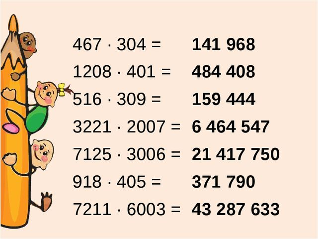 467 ∙ 304 = 1208 ∙ 401 = 516 ∙ 309 = 3221 ∙ 2007 = 7125 ∙ 3006 = 918 ∙ 405 =...